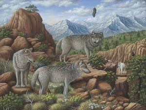 Scouting the Horizon - Grey Wolves by Robert Wavra