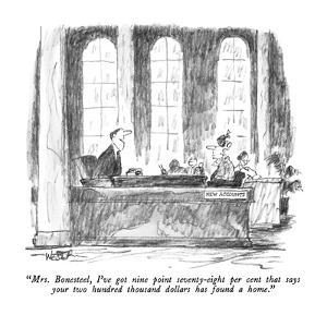 """Mrs. Bonesteel, I've got nine point seventy-eight per cent that says your?"" - New Yorker Cartoon by Robert Weber"