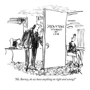 """""""Ms. Burney, do we have anything on right and wrong?"""" - New Yorker Cartoon by Robert Weber"""
