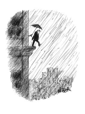 Old man attempts suicide by stepping off ledge of building as someone insi? - New Yorker Cartoon by Robert Weber