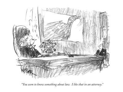 """""""You seem to know something about law.  I like that in an attorney."""" - New Yorker Cartoon"""
