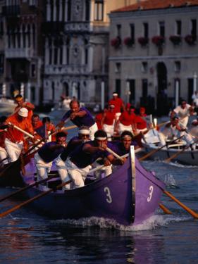 Caorline Regatta During Historiccal Regatta Pageant in Grand Canal, Venice, Veneto, Italy by Roberto Gerometta