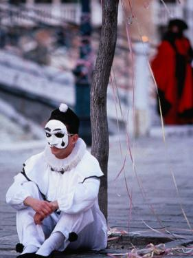 Character from Commedia Dell'Arte in Pierrot Mask, Venice, Italy by Roberto Gerometta