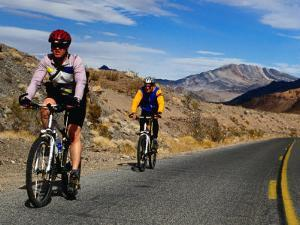 Cycling Towards Dante's View on the Ca 190, Death Valley, California, USA by Roberto Gerometta