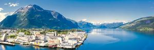 Aerial panoramic by drone of Andalsnes town and fjord by Roberto Moiola