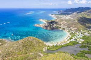 Aerial panoramic by drone of Carlisle Bay Beach and Caribbean Sea, Antigua by Roberto Moiola