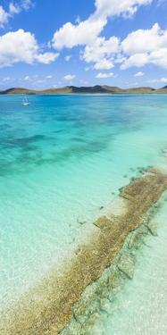 Aerial panoramic by drone of the transparent water of Caribbean Sea, Antilles by Roberto Moiola
