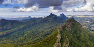Aerial panoramic of Le Pouce mountain, Moka Range, Port Louis, Mauritius by Roberto Moiola
