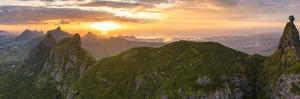 Aerial panoramic of sunset over Le Pouce and Pieter Both mountains, Mauritius by Roberto Moiola