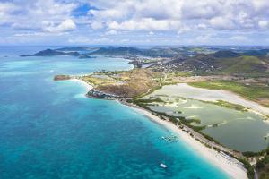 Aerial view by drone of Darkwood Beach and tropical lagoon, Antigua, Leeward Islands by Roberto Moiola