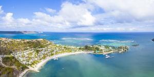 Aerial view by drone of St. James Bay, Antigua, Antigua and Barbuda, Leeward Islands by Roberto Moiola