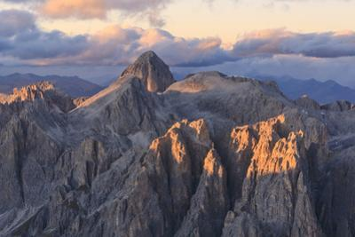 Aerial view of Catinaccio Group (Rosengarten) at sunset, Dolomites, South Tyrol, Italy, Europe by Roberto Moiola