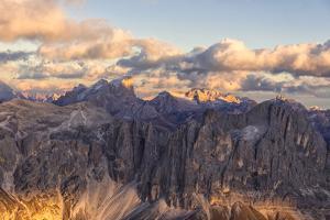 Aerial view of Catinaccio Group (Rosengarten), Torri Del Vajolet, Marmolada, Dolomites, South Tyrol by Roberto Moiola