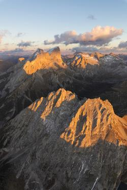 Aerial view of Colac, Gran Vernel and Marmolada, Dolomites, Trentino-Alto Adige, Italy, Europe by Roberto Moiola
