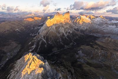Aerial view of Colac, Gran Vernel, Marmolada and Val Contrin, Dolomites, Trentino-Alto Adige, Italy by Roberto Moiola
