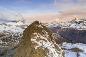Aerial view of Riffelhorn ridge, Matterhorn and Dent Blanche at sunrise, Switzerland by Roberto Moiola