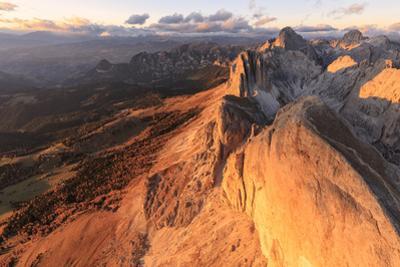 Aerial view of Roda Di Vael at sunset, Catinaccio Group (Rosengarten), Dolomites, South Tyrol, Ital by Roberto Moiola