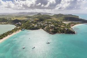 Aerial View of Sailboats Moored from the Coast of Antigua, Leeward Islands, West Indies by Roberto Moiola