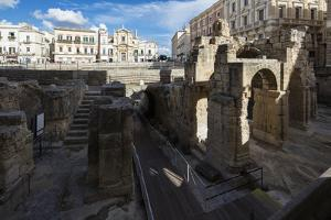 Ancient builldings and Roman ruins in the old town, Lecce, Apulia, Italy, Europe by Roberto Moiola