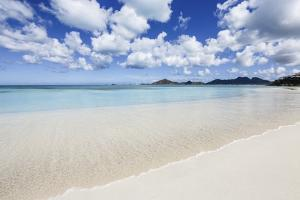 Blue Sky Frames the White Sand and the Turquoise Caribbean Sea, Ffryes Beach, Antigua by Roberto Moiola
