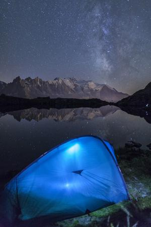 Camping with a Tent under the Milky Way at Lac Des Cheserys