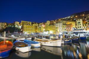 Dusk light on harbour and fishing village of Camogli, Gulf of Paradise, Portofino Nat'l Park, Italy by Roberto Moiola