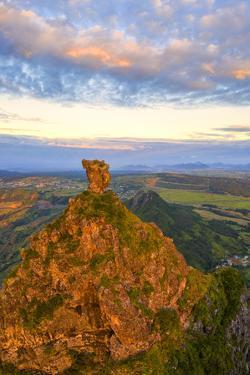 Le Pouce mountain and Pieter Both at sunset, Moka Range, Port Louis, Mauritius by Roberto Moiola