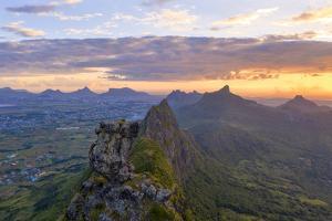 Le Pouce mountain during the African sunset, Moka Range, Port Louis, Mauritius by Roberto Moiola