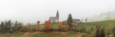 Mist and colourful trees surround the alpine church in the fall, St. Magdalena, Funes Valley, South by Roberto Moiola