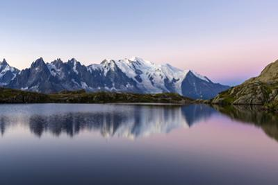 Mont Blanc Reflected During Twilight in Lac Des Cheserys, Haute Savoie, French Alps, France by Roberto Moiola