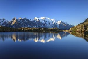 Mont Blanc, Top of Europe, Reflected During Sunrise in Lac Es Cheserys by Roberto Moiola