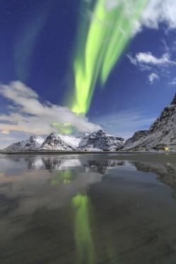 Northern Lights (Aurora Borealis) and Mountains Reflected in the Cold Waters by Roberto Moiola