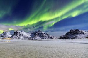 Northern Lights (Aurora Borealis) Illuminate the Sky and the Snowy Peaks by Roberto Moiola