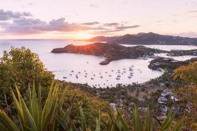 Overview of English Harbour from Shirley Heights at sunset, Antigua, Antigua and Barbuda by Roberto Moiola