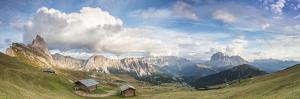 Panorama of green meadows and huts of the Odle mountain range seen from Seceda, Val Gardena, Trenti by Roberto Moiola