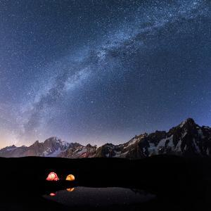 Panorama of Mont Blanc, Mont De La Saxe and Grand Jorasses under the starry sky, Graian Alps, Courm by Roberto Moiola
