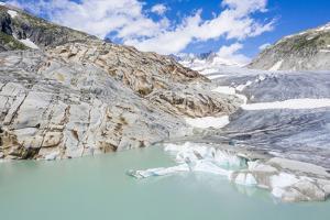 Rhone Glacier and glacial lake at its base in summer, Gletsch, Switzerland by Roberto Moiola