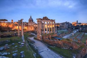 The Blue Light of Dusk on the Ancient Imperial Forum, UNESCO World Heritage Site, Rome by Roberto Moiola