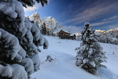The snowy peak of Sass De Putia frames the wooden hut and woods at dawn, Passo Delle Erbe, Funes Va by Roberto Moiola