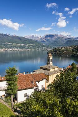 View of the bell tower and village of Dorio, Lake Como, Province of Lecco, Lombardy, Italy, Europe by Roberto Moiola