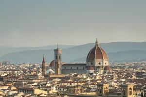 View of the Duomo with Brunelleschi Dome and Basilica di Santa Croce from Piazzale Michelangelo Flo by Roberto Moiola
