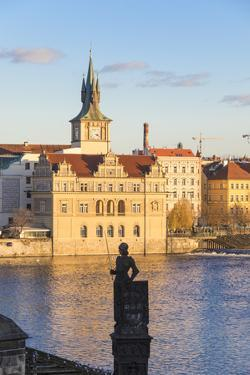 View of the Vltava River and ancient clock tower, Prague, Czech Republic, Europe by Roberto Moiola