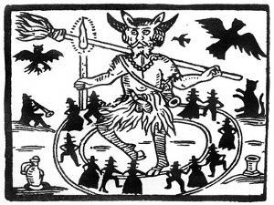 Robin Goodfellow, Represented as Priapus with Goat Horns, Erect Penis and Surrounded by Circle of…