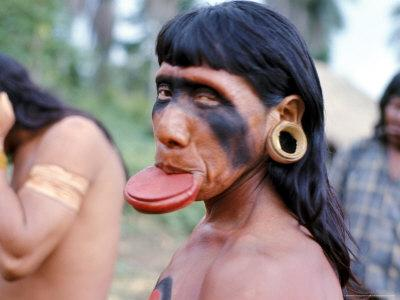 Portrait of a Suya Indian Man with Lip Plate, Brazil, South America