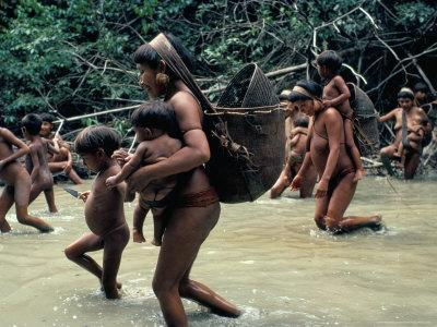 Yanomami Indians Going Fishing, Brazil, South America