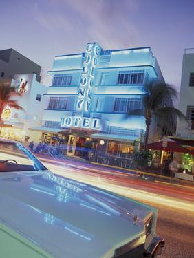 Colony Hotel and Classic Car, South Beach, Art Deco Architecture, Miami, Florida, Usa by Robin Hill