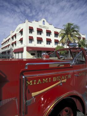 Fire Truck on Ocean Drive, South Beach, Miami, Florida, USA by Robin Hill