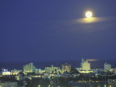 Moon over South Beach, Miami, Florida, USA by Robin Hill