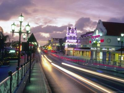 Night Scene of Oranjestad, Aruba, Caribbean by Robin Hill