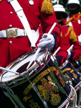 Uniformed Guardsman Playing Drum, Bermuda, Caribbean by Robin Hill
